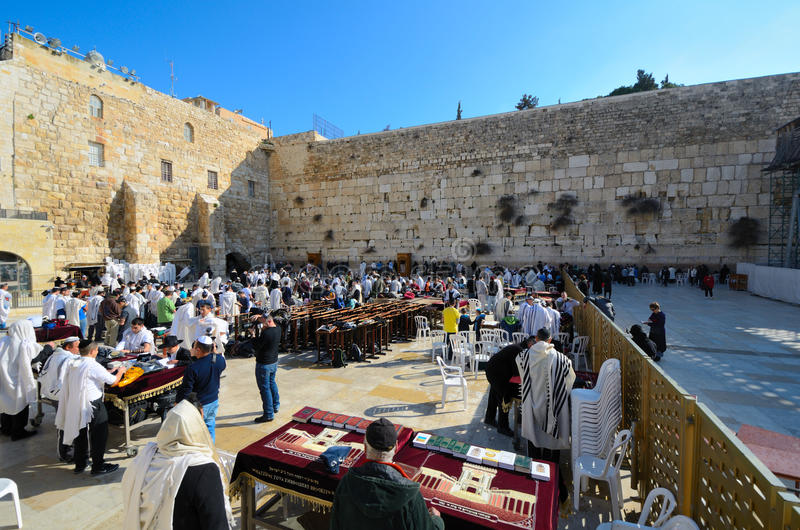Praying Jews. JERUSALEM - FEBRUARY 20: Jews pray at the Kotel February 20, 2012 in Jerusalem, IL. The kotel is one of the holiest sites in Judaism attracting royalty free stock image