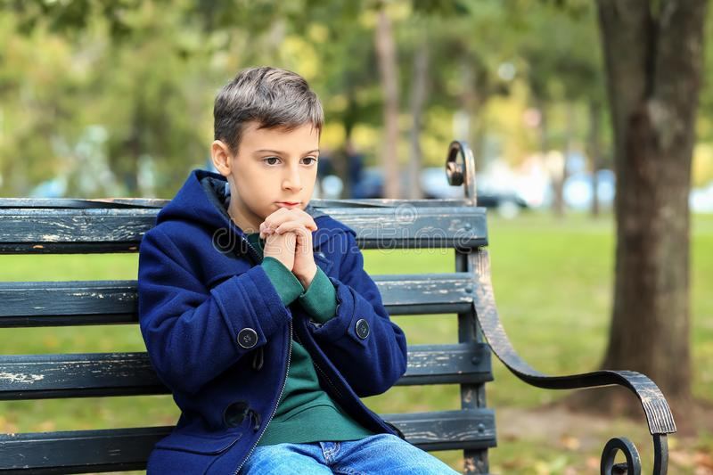 Praying little boy sitting on bench in park stock images