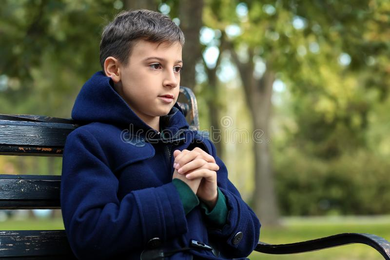 Praying little boy sitting on bench in park stock photo