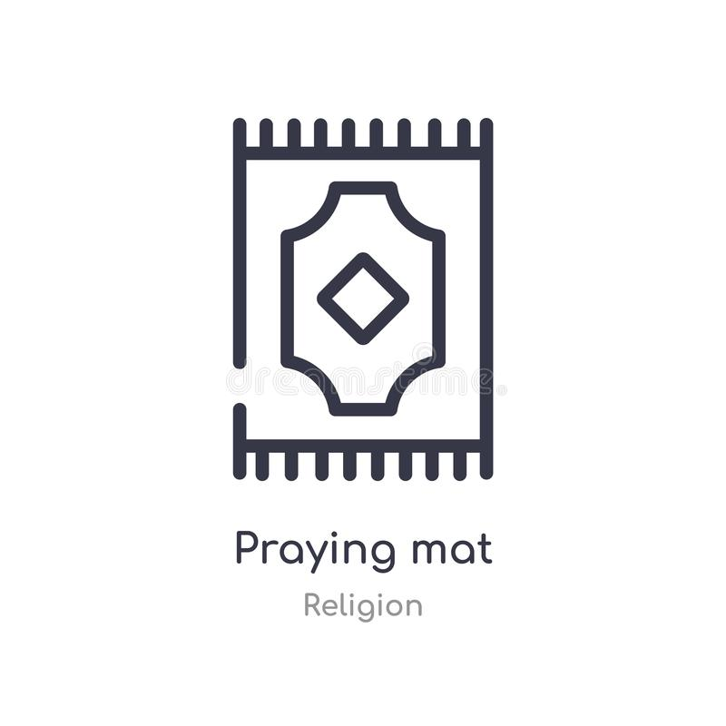 praying mat outline icon. isolated line vector illustration from religion collection. editable thin stroke praying mat icon on royalty free illustration