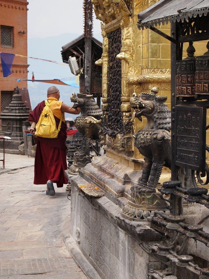 Praying buddhist monk royalty free stock photo
