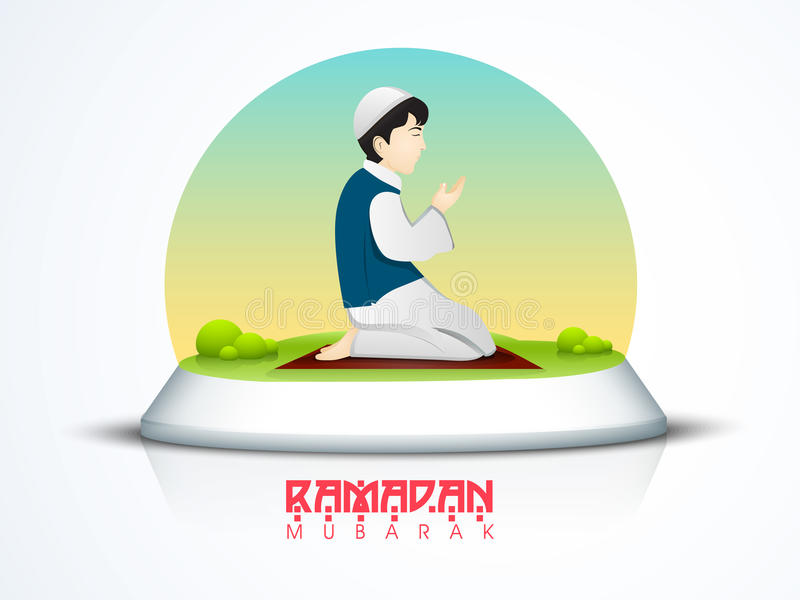Praying Muslim boy for Ramadan Kareem celebration. Islamic holy month of prayer, Ramadan Kareem celebration with illustration of a boy offering Namaz (Muslim vector illustration
