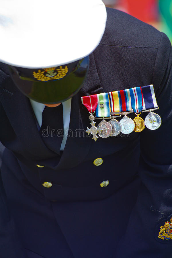 Praying naval officer, Remembering the dead stock photography