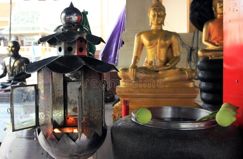 Praying objects and details at a buddhist temple, outdoor, Thailand royalty free stock photography