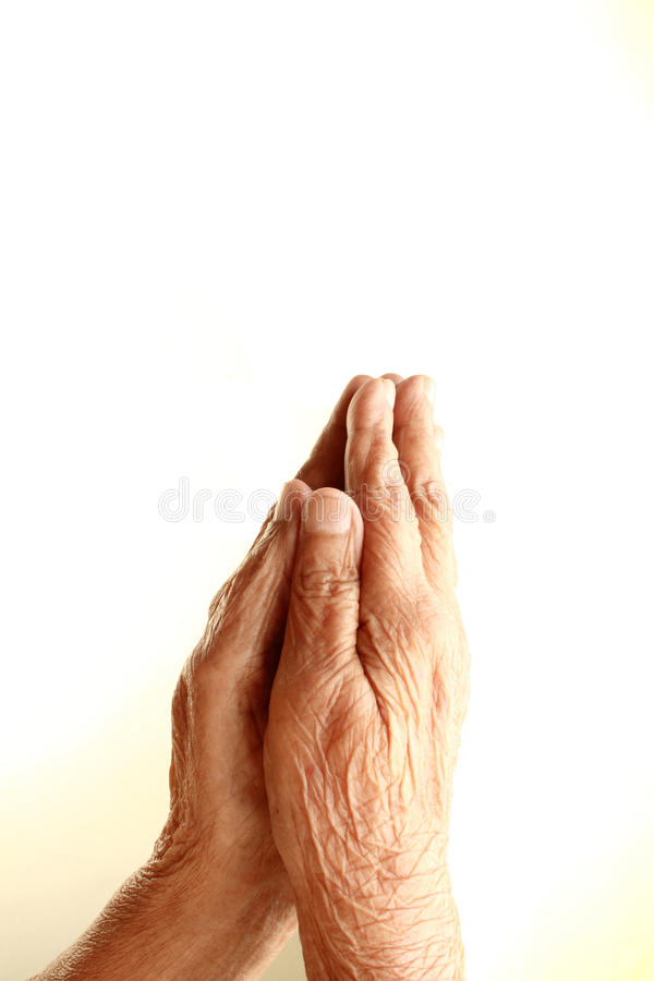 Praying Old Hands royalty free stock images