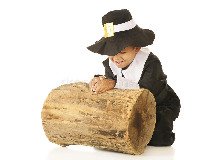 Praying Pilgrim. An adorable preschooler in a pilgrim outfit praying, giving thanks, by an old log stock image