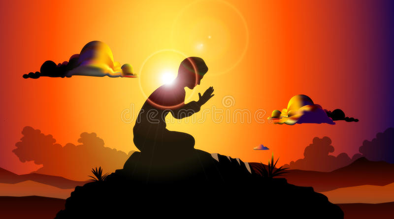 Praying At Sunset. Illustration of a man kneeling on a rock while praying, with the sunset behind casting light and shadow in all directions
