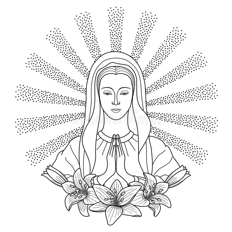 Praying Virgin Mary. With lilies in rays of sun. Outline cartoon on white background. Black and white coloring page royalty free illustration