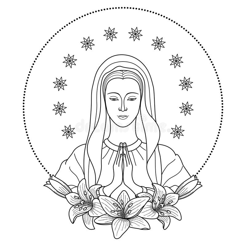 Praying Virgin Mary stock vector. Illustration of vector ...