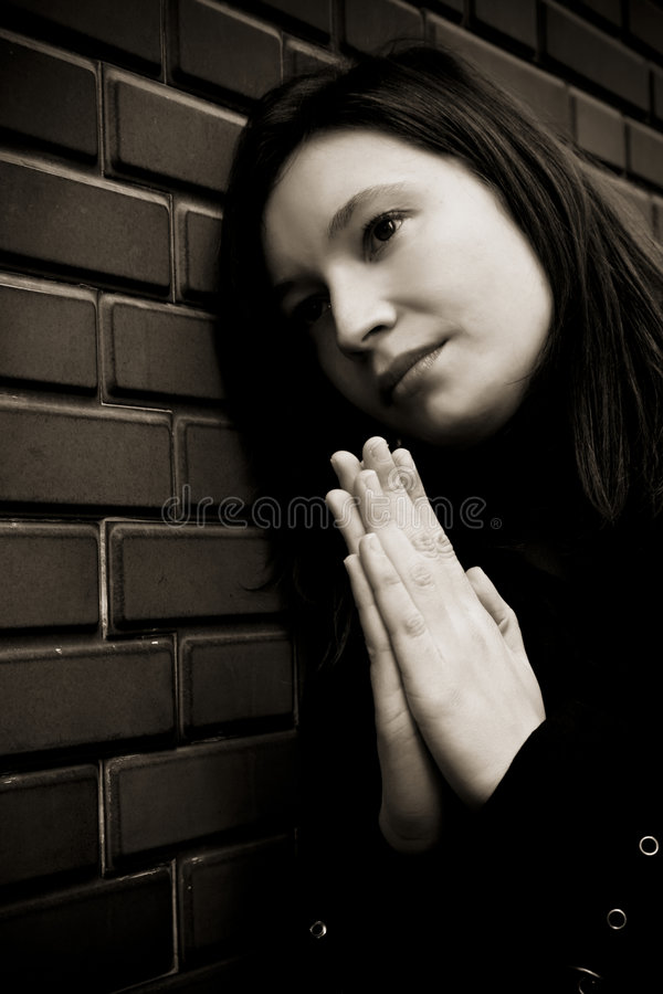 Download Praying woman in dark stock photo. Image of believer, believe - 4865350