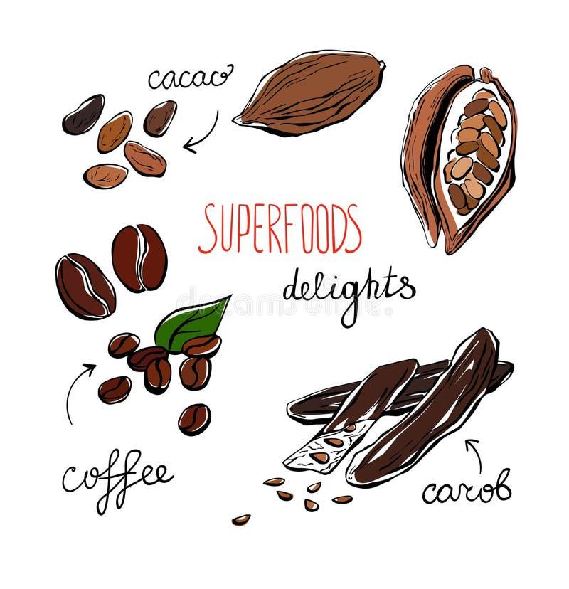 Prazer dos superfoods da garatuja ilustração stock