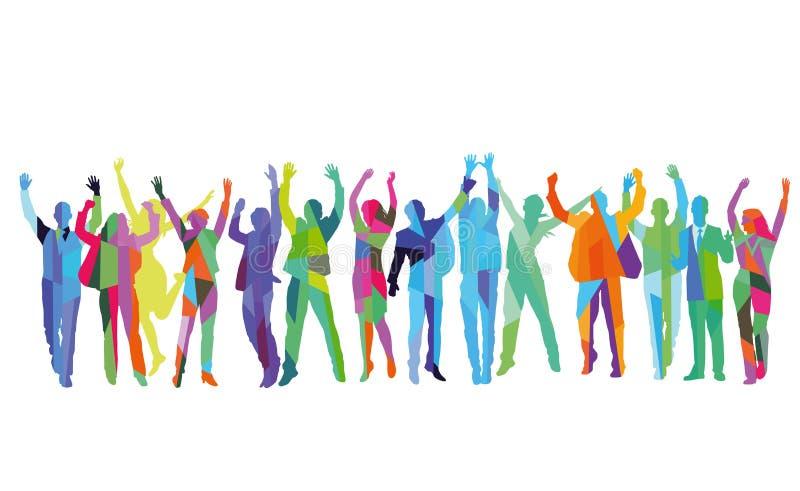 Prazer e cheering em um grupo ilustração do vetor