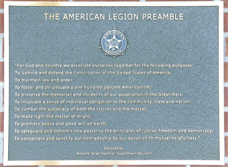 Preâmbulo da legião americana do Estados Unidos imagens de stock royalty free