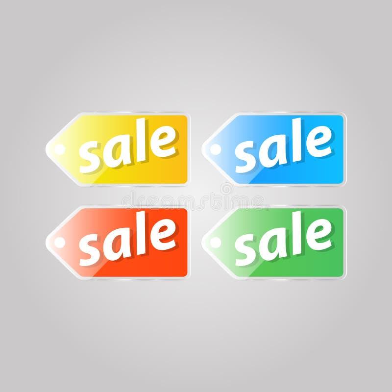 Preço colorido brilhante em um fundo cinzento ilustração royalty free