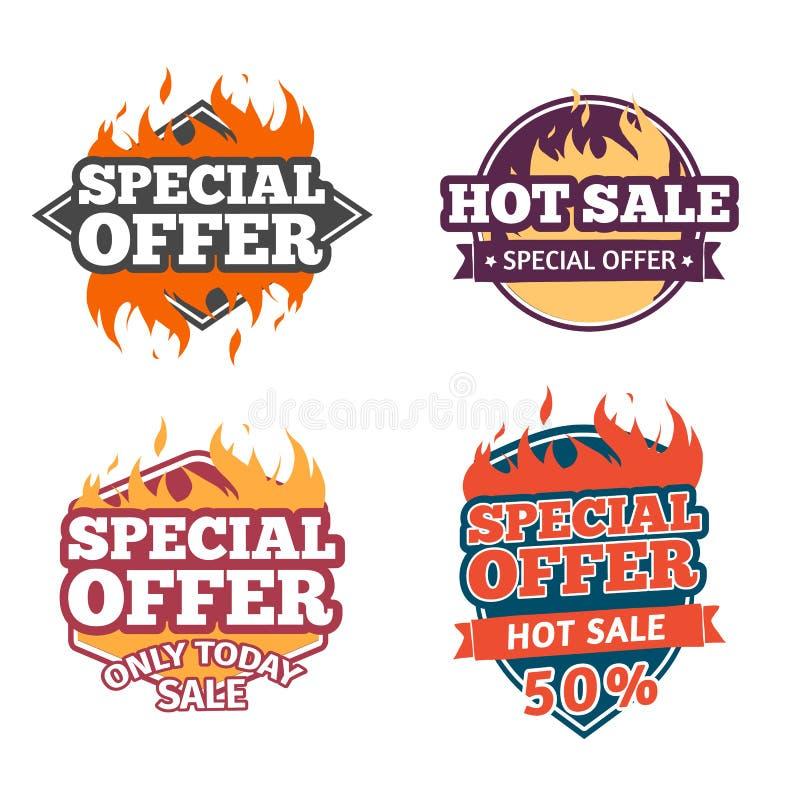 Preço da cenografia, etiquetas, crachás em um estilo liso Crachás com ofertas especiais e venda quente Venda quente e special ilustração stock