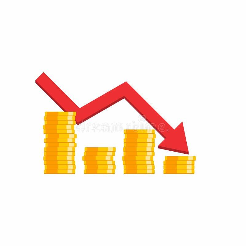 Preço da moeda abaixo do gráfico, muitas moedas, pilha de dinheiro, nenhum fundo, vetor, ícone liso, pilha de moedas do dólar ilustração stock