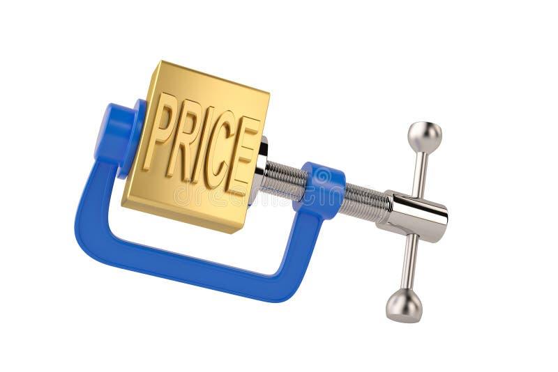 Preço da palavra do ouro na ilustração do conceito 3D da redução de preço da braçadeira ilustração royalty free