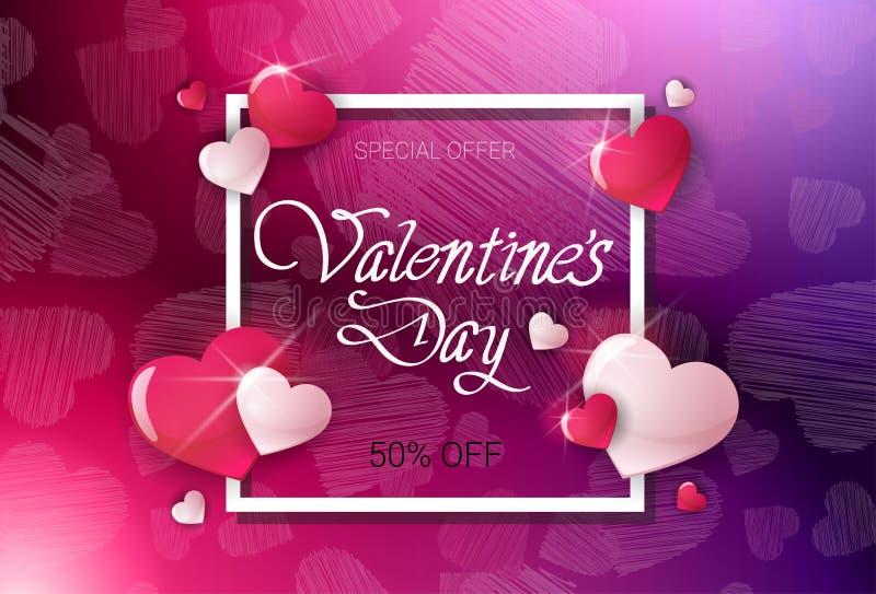 Preço do inseto da venda do molde de Valentine Day Discount Offer Poster fora do projeto da bandeira ilustração do vetor