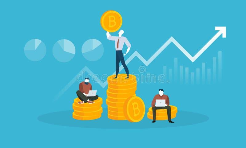 Preço e capitalização bolsista de Bitcoin ilustração royalty free