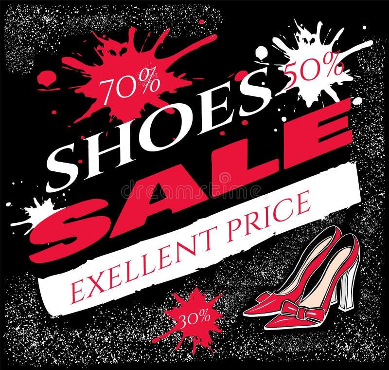 Preço excelente da venda das sapatas do texto com ilustração de sapatas do salto alto ilustração stock