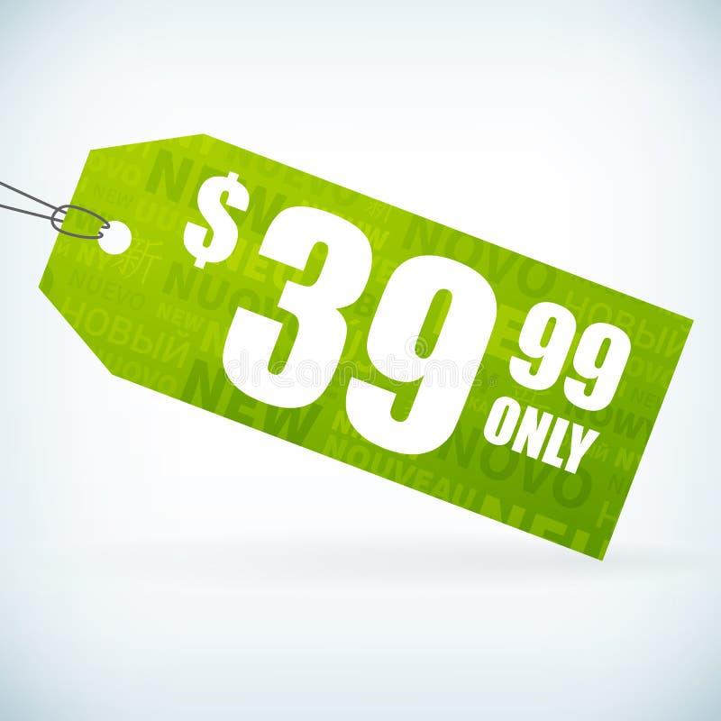 Preço novo do papel verde ilustração royalty free
