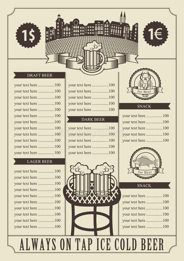 Preço para um bar ilustração stock