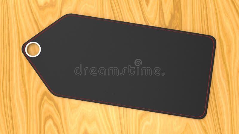 Preço preto vazio vazio da etiqueta no fundo de madeira ilustração stock