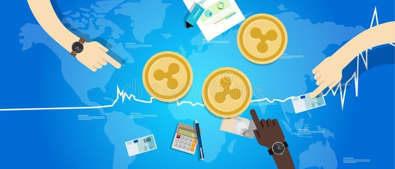 Preço virtual digital do valor de troca do aumento da moeda da ondinha acima do azul da carta ilustração do vetor