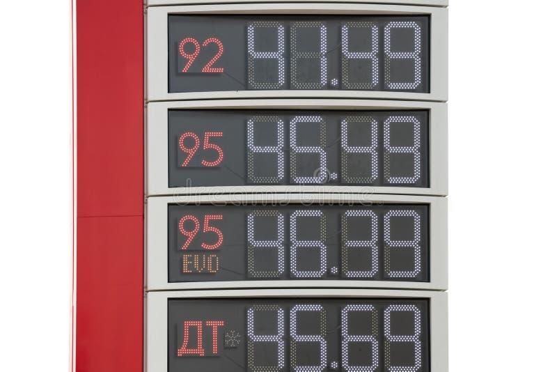 Preços da placa da informação do posto de gasolina Números na superfície de metal com tampas mecanicamente móveis cyrillic fotos de stock
