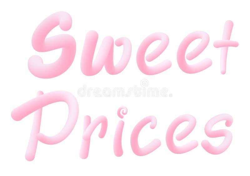 Preços mais doces Cartas feitas de pastilha elástica para promoção de cartaz/banner Texto da pastilha Isolado em branco ilustração stock