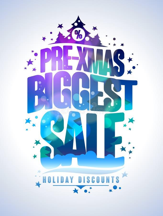 Pre плакат продажи xmas самый большой иллюстрация вектора