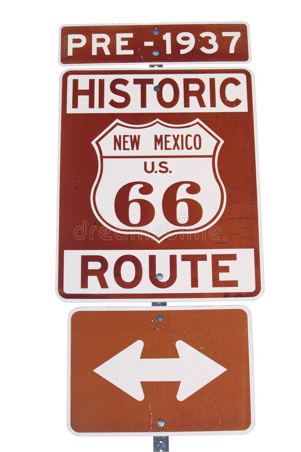Free Pre-1937 Historic Route 66 Sign Isolated Stock Images - 22581894