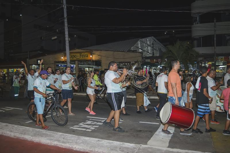 Pre-carnival at Joao Pessoa, Brazil. Joao Pessoa - PB, Brazil - February 20, 2019: People on street celebrating the pre-carnival at Tambau, Almirante Tamandare stock photo