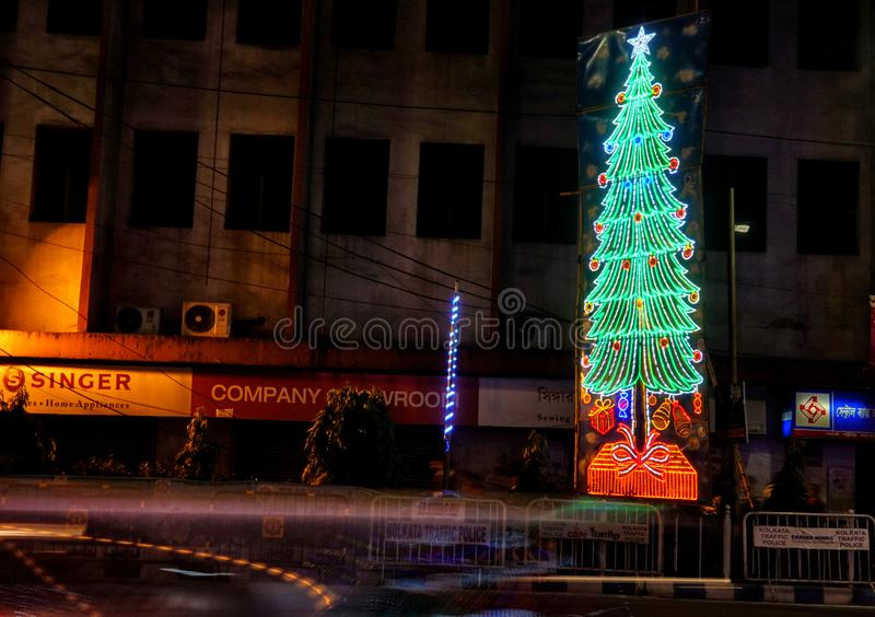 Pre Christmas Celebration at Kolkata , India. City of Joy is fully crowded with Colorful Lights , activities before the Christmas Day celebration at Kolkata royalty free stock image