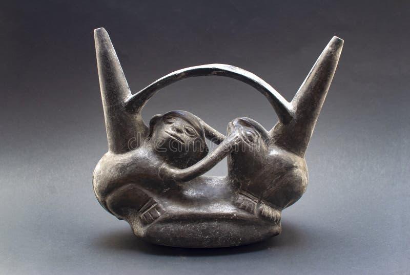 Pre-columbian keramiska kallade 'Huaco 'från Chimu royaltyfria foton