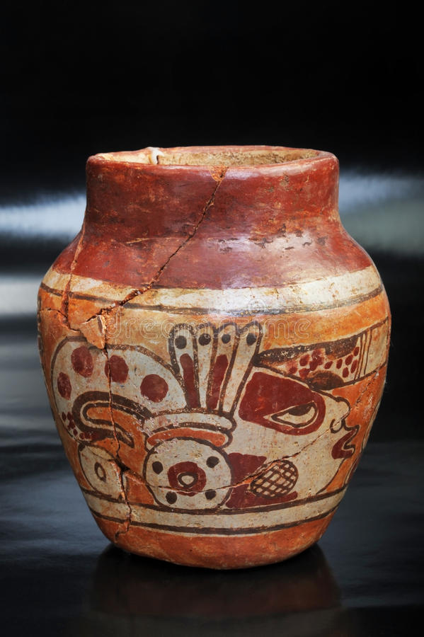 Pre-Columbian painted vase stock photo