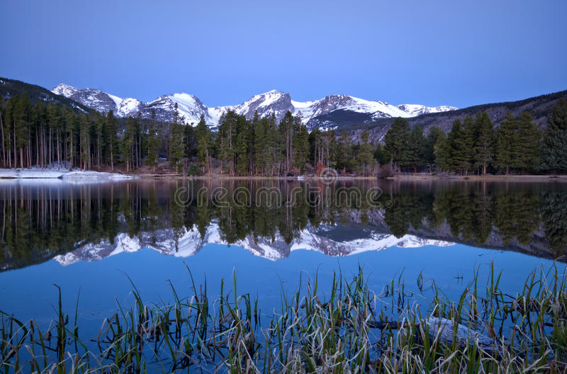 Pre dawn image of the Continental Divide and a Sprague Lake refl. Pre dawn light on the Continental Divide and Sprague Lake located in Rocky Mountain National royalty free stock image