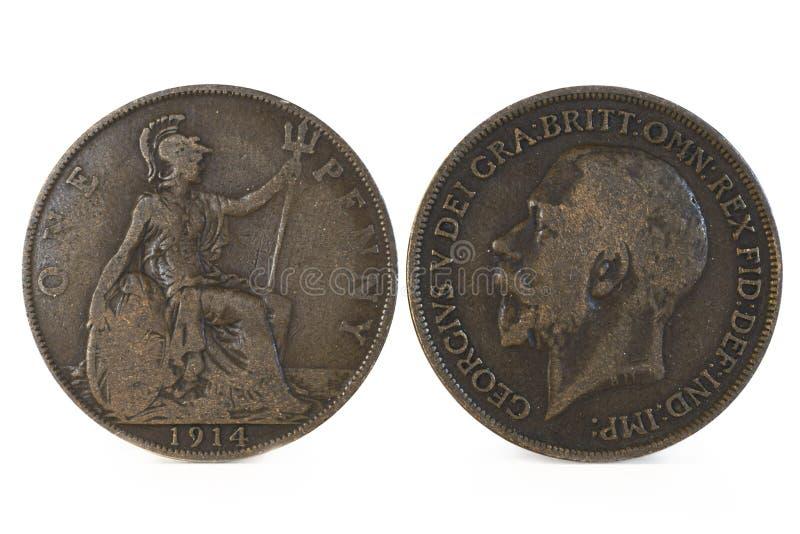Pre Decimalisation centu Angielska moneta fotografia stock