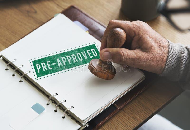 Pre-goedgekeurde Keus Mark Selection Status Option Concept stock foto