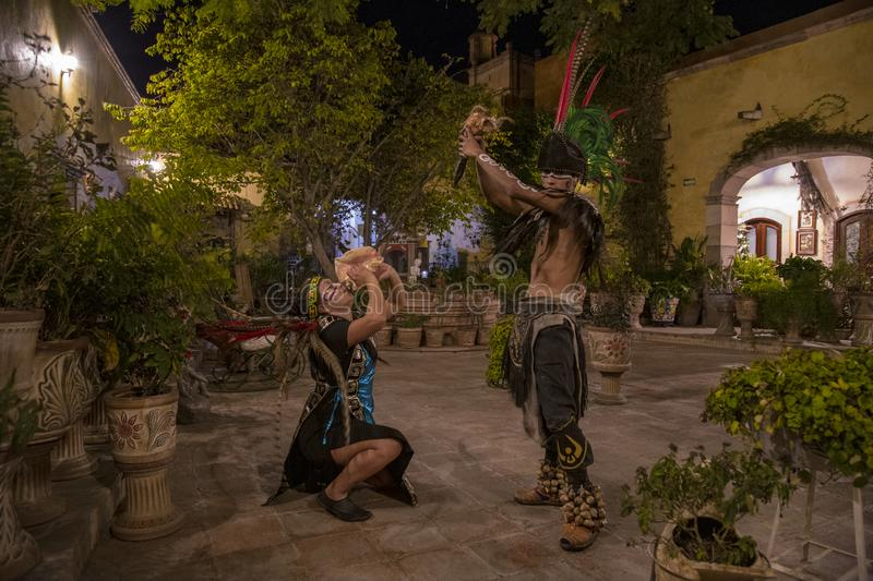 Pre-Hispanic dance Mexico. Tradition, culture, dancer, religion, decoration, traditional, spiritual, mexican, day, dead, travel, sculpture, energy, tourism royalty free stock photography