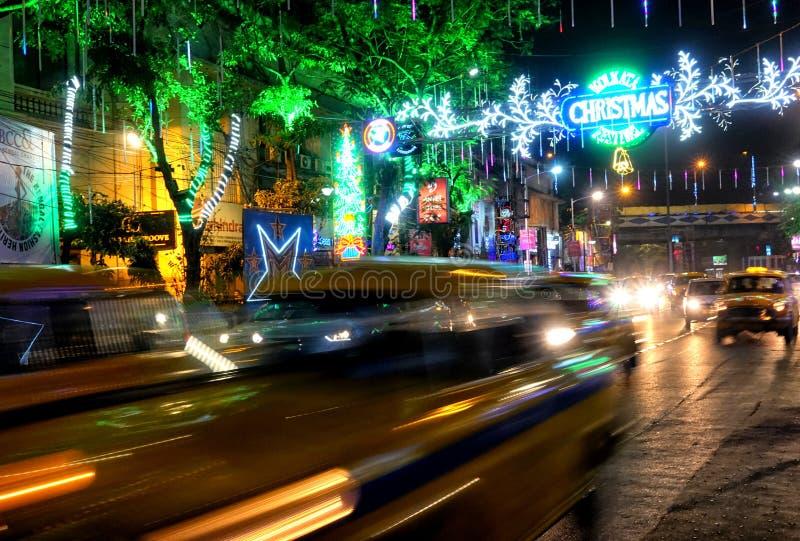 Pre julberöm på Kolkata, Indien arkivbilder