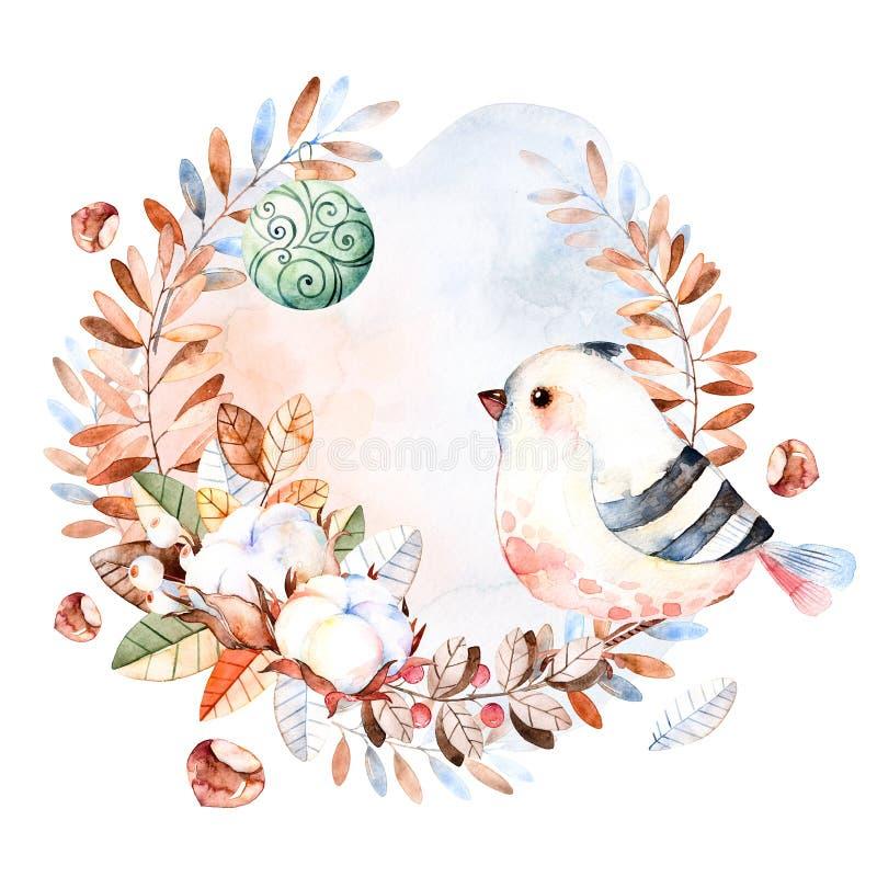 Pre-made Christmas card.Winter wreath stock illustration