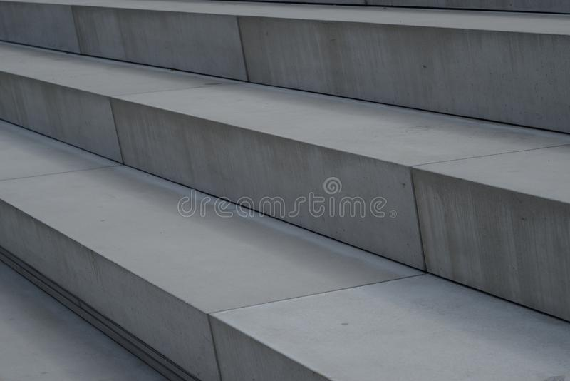 Pre Manufactured Elements Out Of White Concrete Arranged To Huge Stairs In  Siegen Nearby Sieg River, Germany