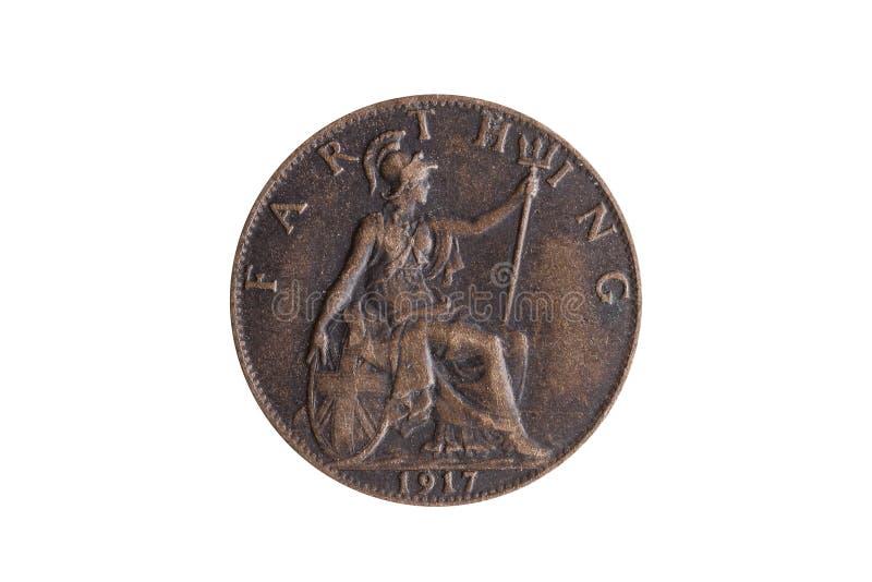 Pre moneda vieja 1917 del comino de George V del decimal de Inglaterra Britannia reverso BRITÁNICO foto de archivo libre de regalías