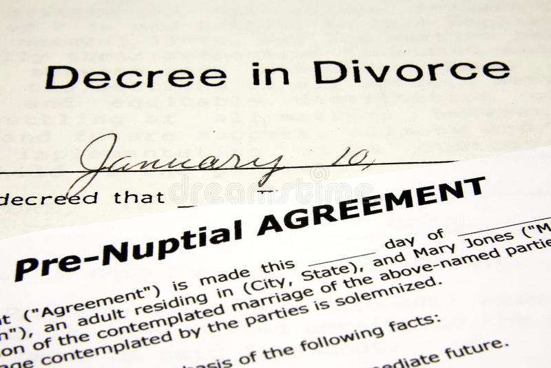 Pre-Nuptial con divorcio imágenes de archivo libres de regalías
