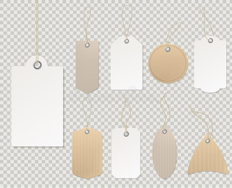 Pre?os em branco Molde de papel da etiqueta, desconto vazio do presente da loja do cartão da corda decorativa vazia da etiqueta d ilustração do vetor