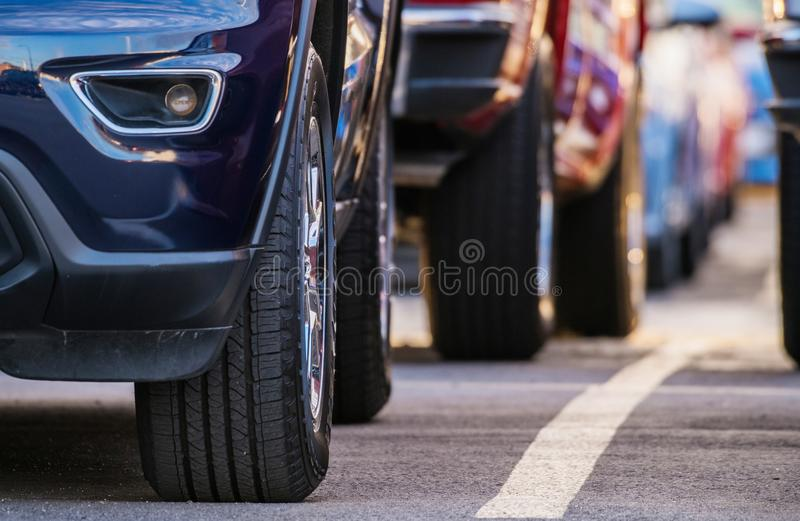 Pre Owned Cars Market. Automotive Sales Industry Theme royalty free stock photo