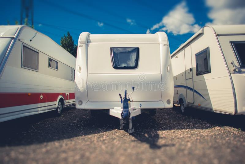 Pre Owned Travel Trailers. For Sale. Campers and RVs Dealership Lot royalty free stock photo