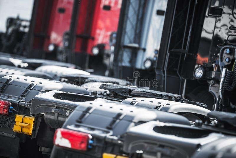Pre Owned Trucks Dealer. Ship Parking. Semi Truck Sales. Transportation Industry stock photo