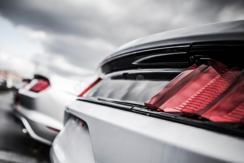 Pre Owned Vehicles in Stock. Certified Pre Owned Vehicles in Stock. Car Dealer Lot. Vehicle Rear Closeup royalty free stock photos